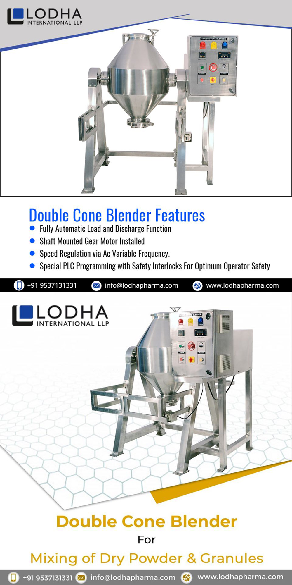 Industrial Applications of Double Cone Blender