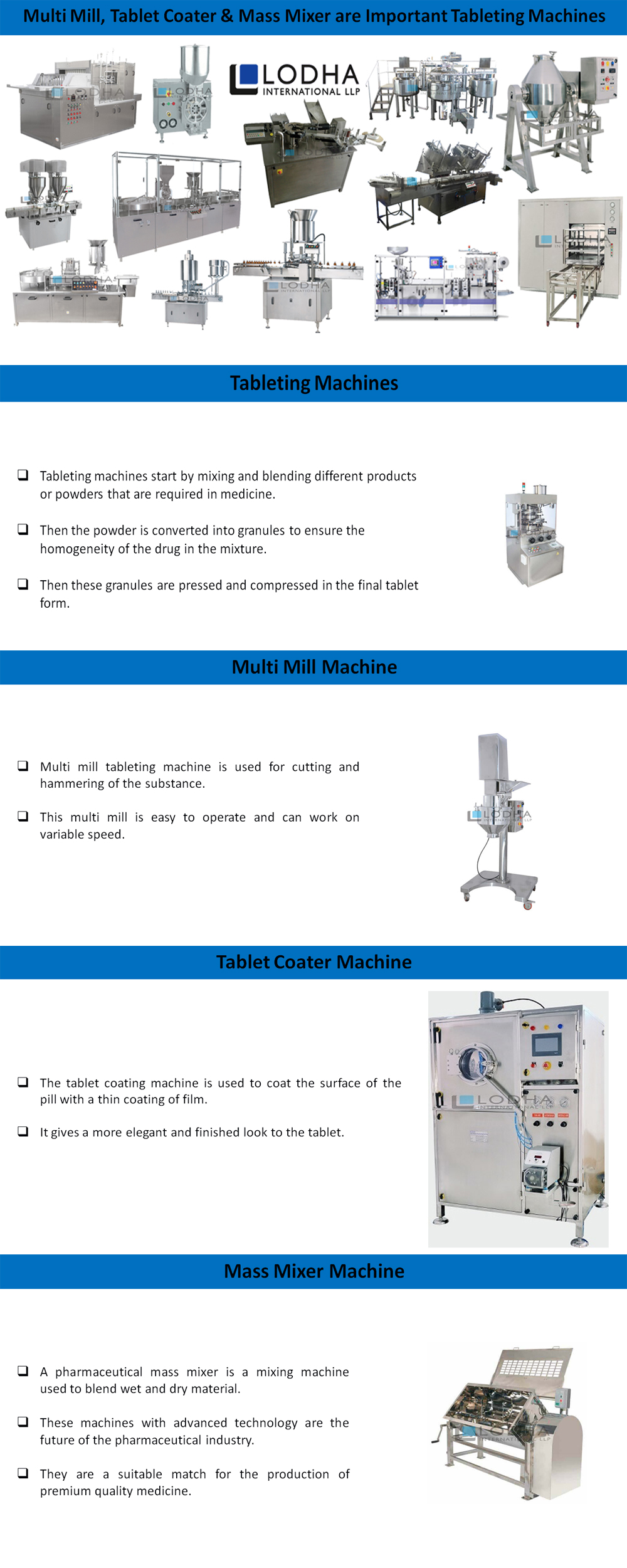Multi Mill, Tablet Coater & Mass Mixer are Important Tableting Machines